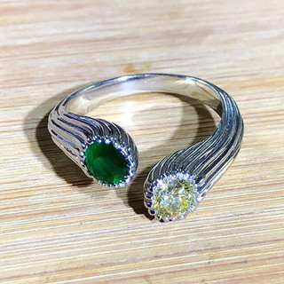 18 Karat Gold, Emerald and Yellow Diamond Ring by Carvin French