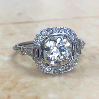 Art Deco Style Diamond Halo Engagement Ring