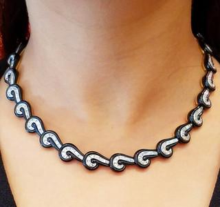 Platinum, Black Jade and Diamond Necklace