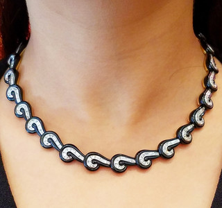 Important Black Jade and Diamond Necklace by Carvin French