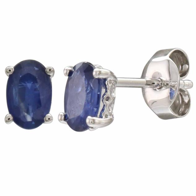 September: White Gold Oval Sapphire Stud Earrings