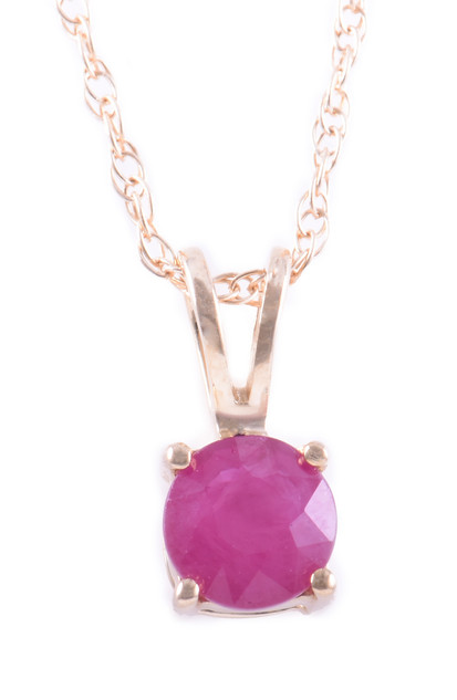 July: Yellow Gold Round Ruby Pendant