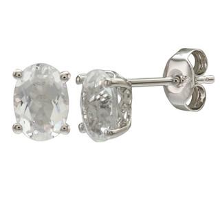 April: White Gold Oval White Topaz Stud Earrings