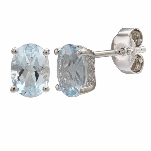 March: White Gold Oval Aquamarine Stud Earrings