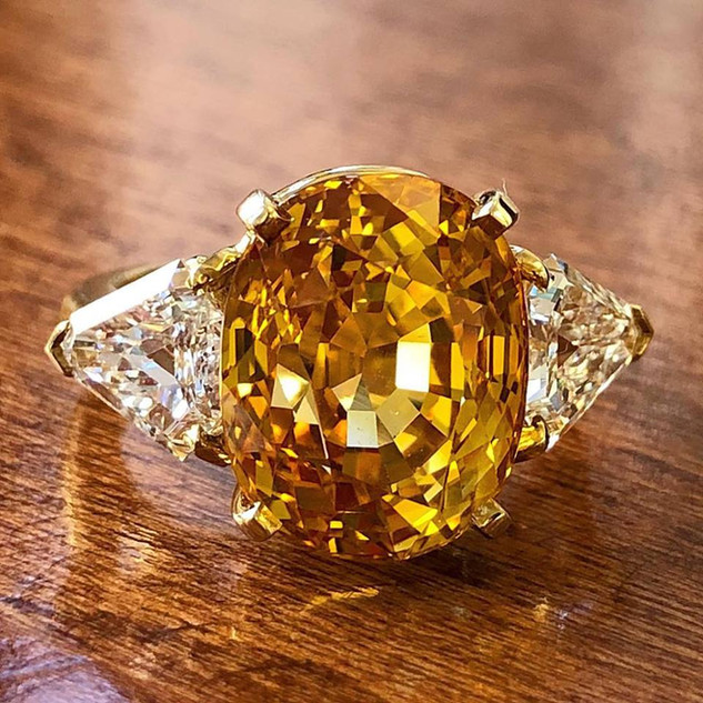 Yellow Sapphire and Diamond Ring by Carvin French