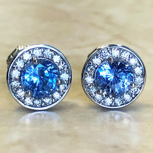 White Gold Natural Sapphire & Diamond Halo Stud Earrings