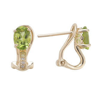 August: Yellow Gold Oval Peridot and Diamond Earrings