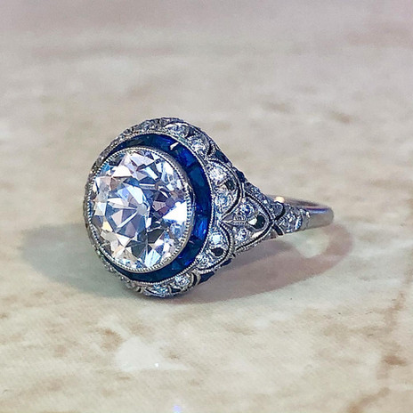 Handcrafted Art Deco Style Old European Cut Diamond And French Cut Sapphire Engagement Ring