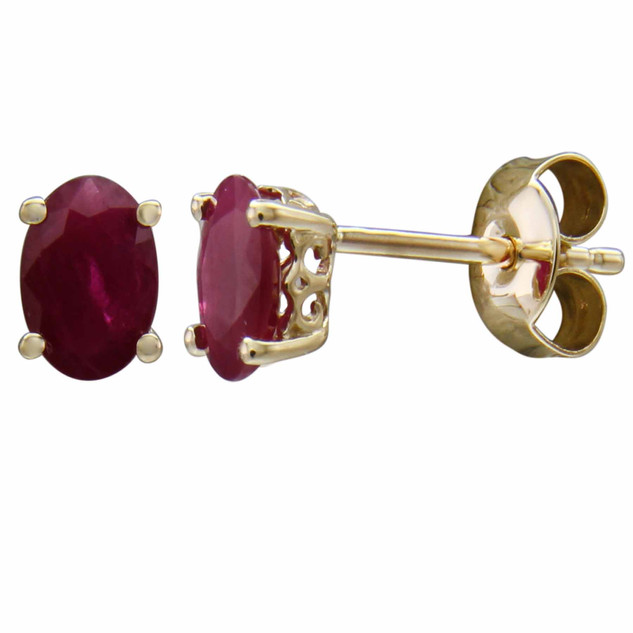 uly: Yellow Gold Oval Ruby Stud Earrings