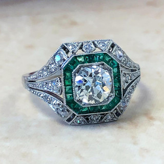 Handcrafted Platinum Art Deco Style 0.72 Carat Diamond And Emerald Halo Engagement Ring