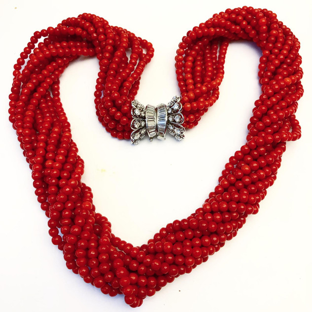 Very Fine Coral and Diamond Necklace by Carvin French