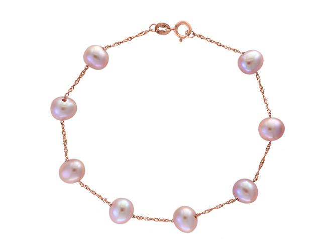 Rose Gold Natural Pink Fresh Water Pearl Tin Cup Bracelet