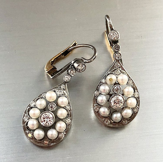 Platinum, Pearl and Diamond Earrings