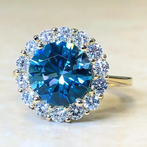 Custom-Made Blue Zircon And Diamond Ring