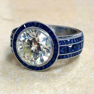 Platinum Diamond and Sapphire Engagement Ring