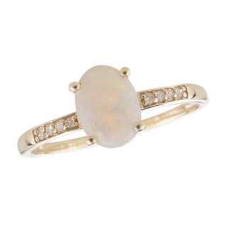 October: Yellow Gold Oval Opal and Diamond Ring