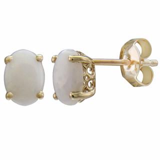 October: Yellow Gold Oval Opal Stud Earrings