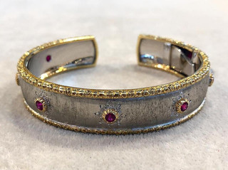 Vintage Gold and Ruby Cuff Bracelet by Mario Buccellati