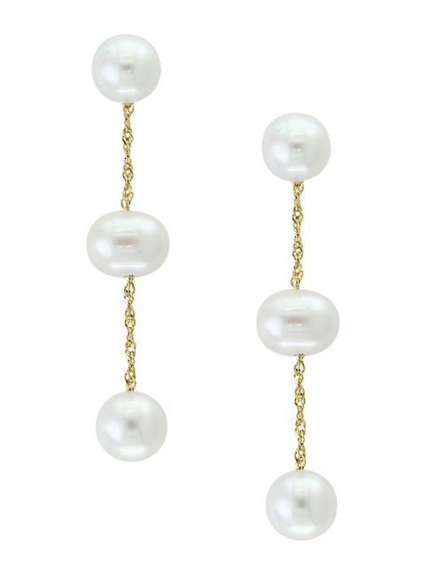Yellow Gold Natural White Fresh Water Pearl Dangling Earrings
