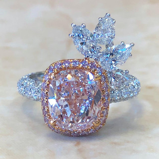 2.90 Carats Fancy Light Pink Diamond Engagement Ring