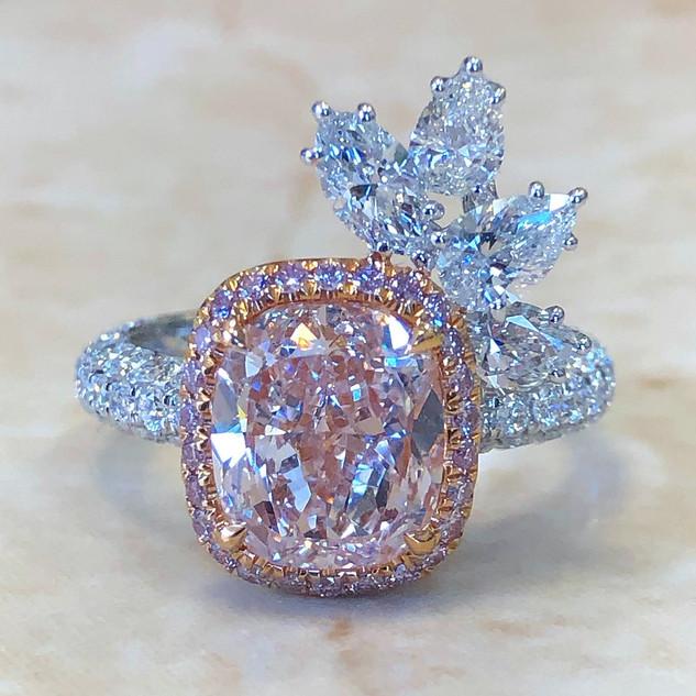 2.90 Carats Fancy Light Pink Diamond Engagement Ring