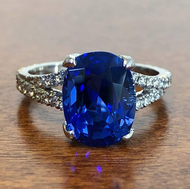 Untreated Ceylon Sapphire Ring by Carvin French