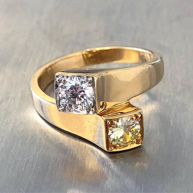 Vintage 18 Karat Yellow Gold Yellow and Colorless Diamond Ring by Carvin French