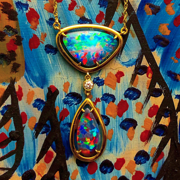 18 Karat Yellow Gold Black Opal Necklace by Carvin French