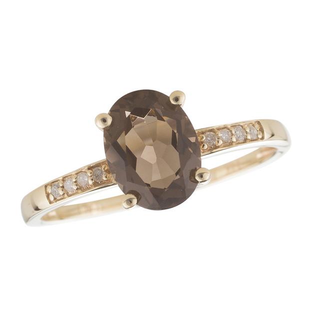 June: Yellow Gold Oval Smoky Quartz and Diamond Ring