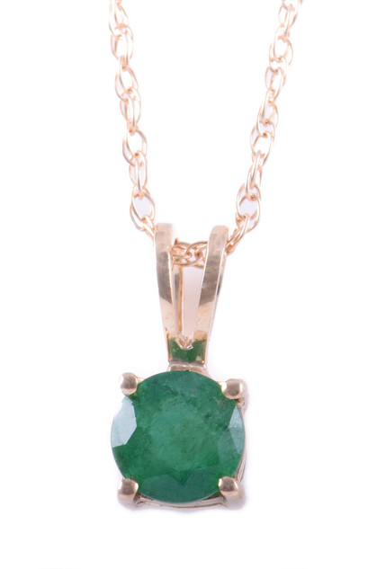 May: Yellow Gold Round Emerald Pendant