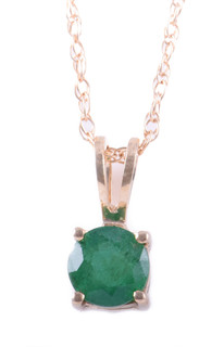 May: Yellow Gold Round Emerald Pendant