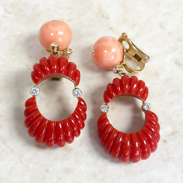 Oxblood and Angel Skin Coral Earrings by Carvin French