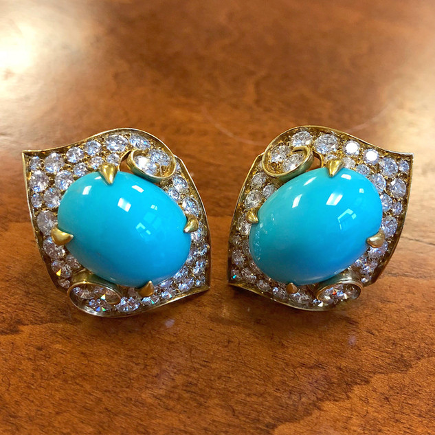 Vintage 18 Karat Gold Turquoise and Diamond Earrings by Bvlgari, Italy