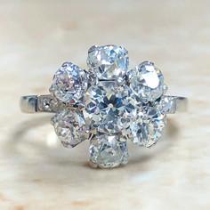 2.90 Carats Old European Cut Diamond Halo Engagement Ring