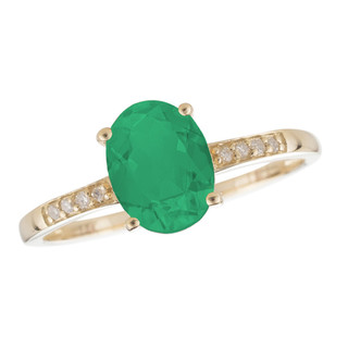 May: Yellow Gold Oval Emerald and Diamond Ring