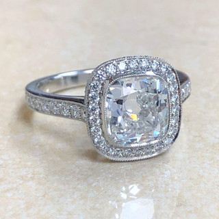 2.01 Carats Cushion Diamond Engagement Ring