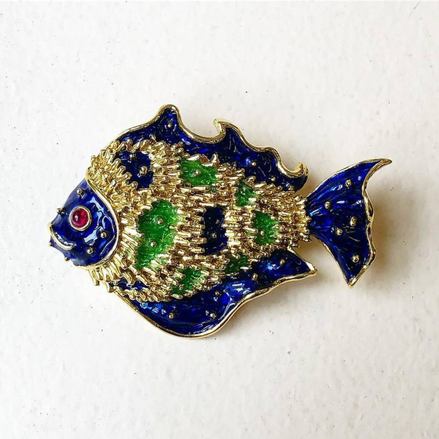 Vintage Donald Claflin For Tiffany Gold, Enamel and Ruby Fish Brooch