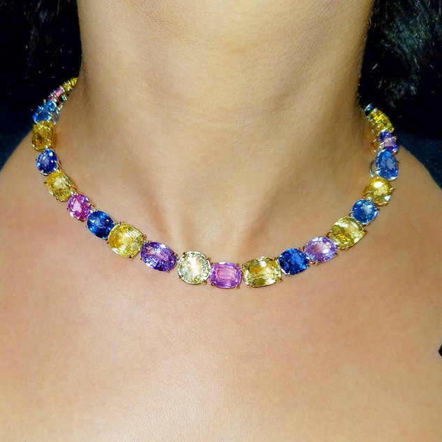 Multi Color Sapphire Necklace by Carvin French