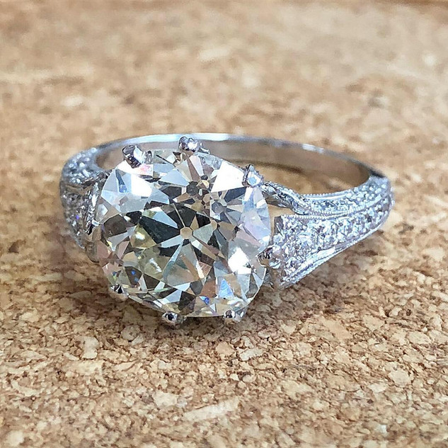 4+ Carats Old Cut Diamond Engagement Ring