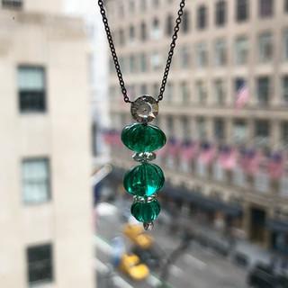 Platinum, Carved Emerald and Diamond Pendant