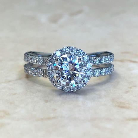 Double Shank Diamond Halo Engagement Ring