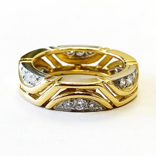 Vintage 18 Karat Gold and Diamond Band by Carvin French