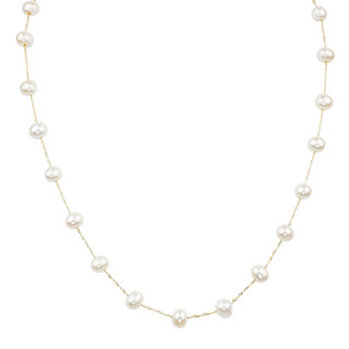 Yellow Gold Natural White Fresh Water Pearl Tin Cup Necklace