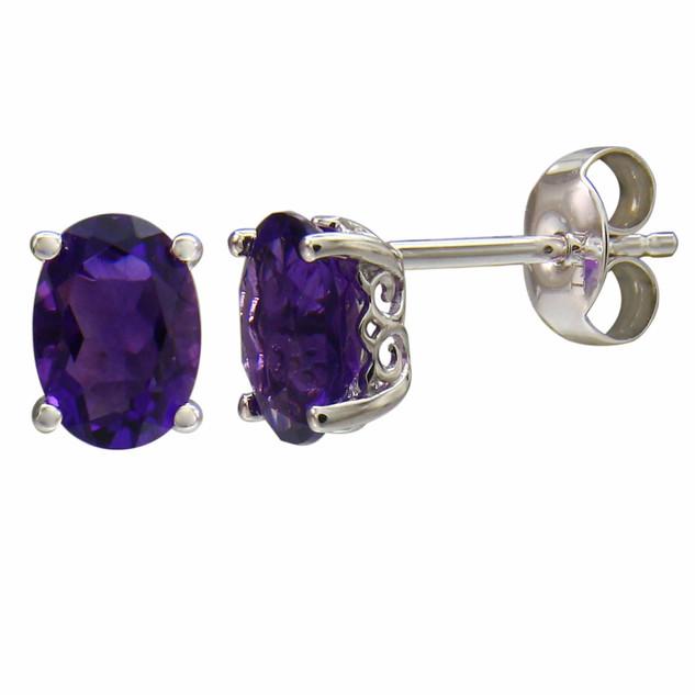 February: White Gold Oval Amethyst Stud Earrings