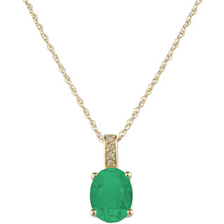 May: Yellow Gold Oval Emerald and Diamond Pendant