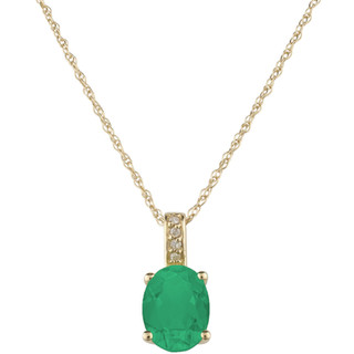 May: Yellow Gold Oval Emerald and Diamond Pendant