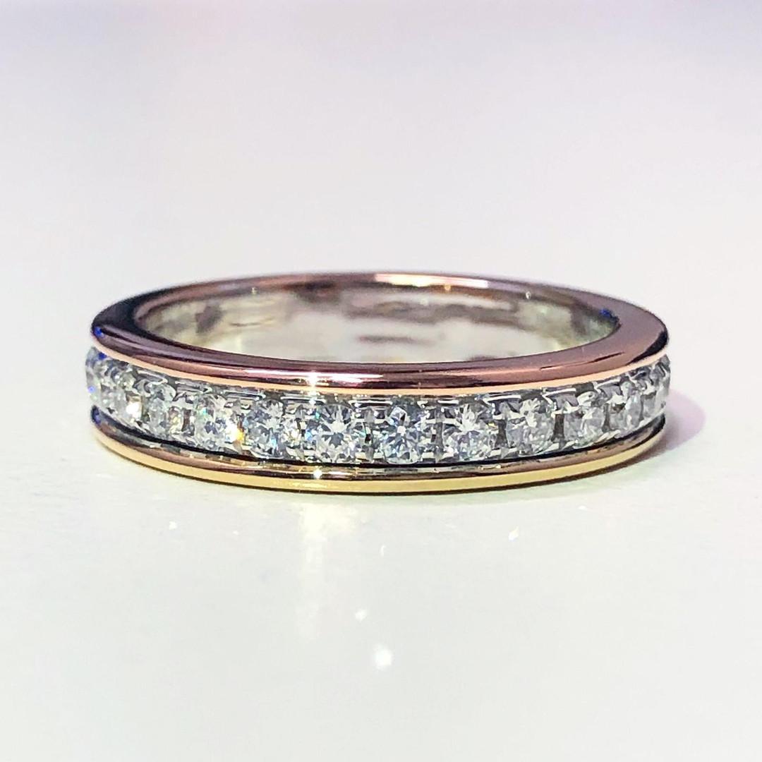 18 Karat Yellow, White and Rose Gold Diamond Eternity Ring