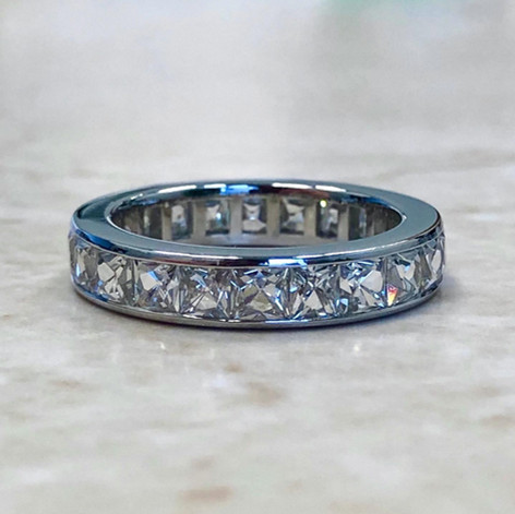 Important Vintage Platinum French Cut Eternity Ring 3.75 CTTW