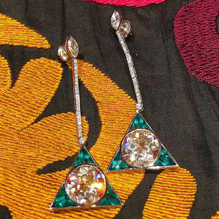 Important Pair of Antique Cut Diamond and Emerald Earrings