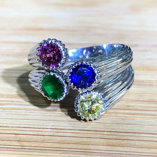 Set of Two Platinum and Precious Stone Rings by Carvin French